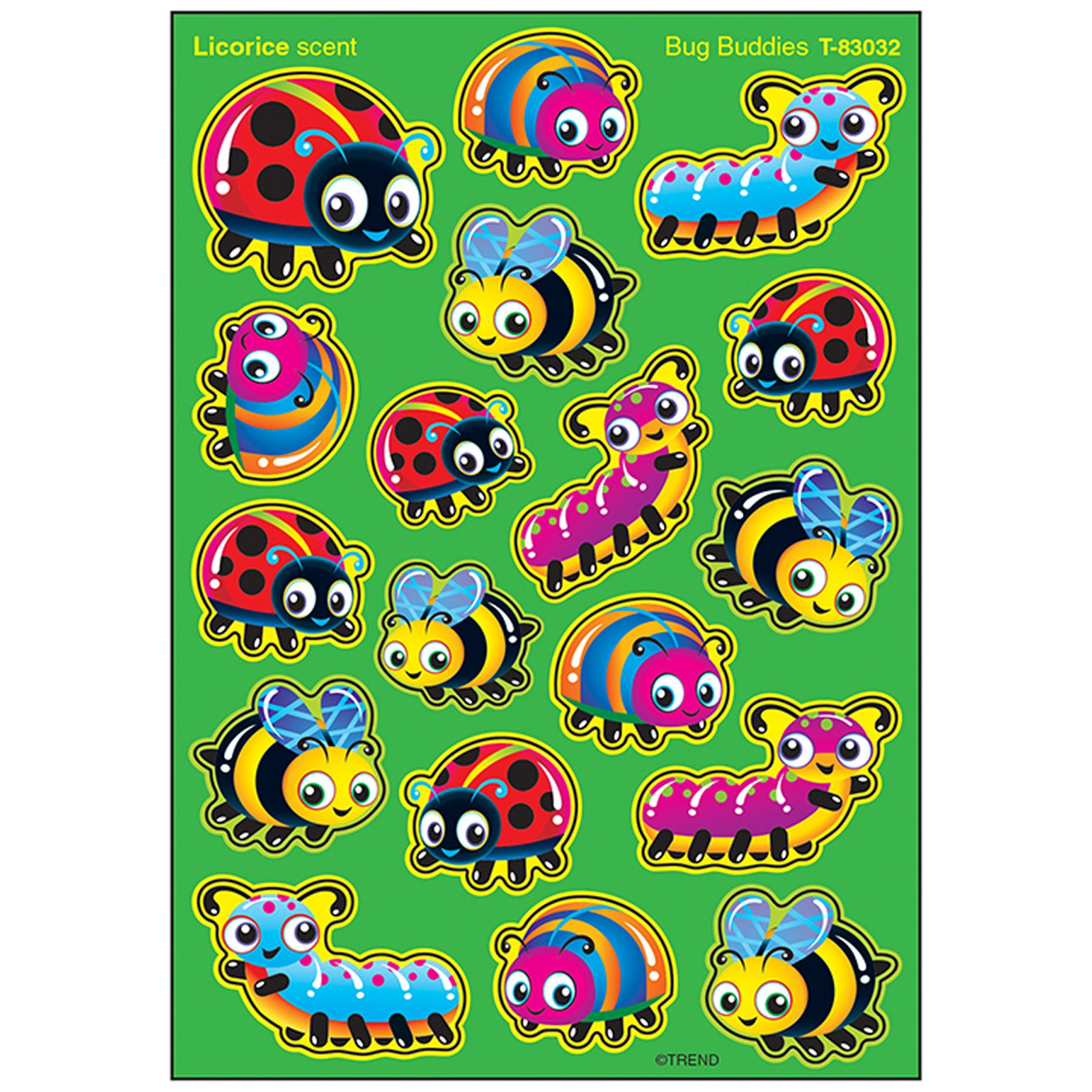 TREND enterprises, Inc. T-83032BN Bug Buddies Stinky Stickers, Mixed Shapes, 72 Per Pack, 6 Packs