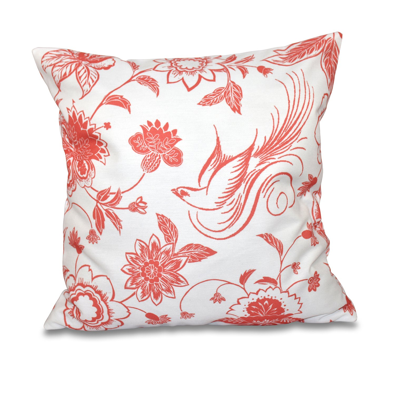 E by design O5PFN497OR9-20 20 X 20 Traditional Bird Floral Animal Orange/Red Outdoor Pillow