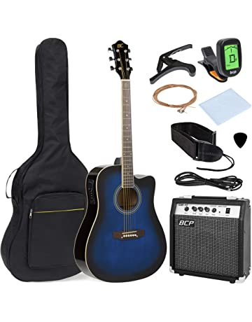 Best Choice Products 41in Full Size Acoustic Electric Cutaway Guitar Set w/10-Watt