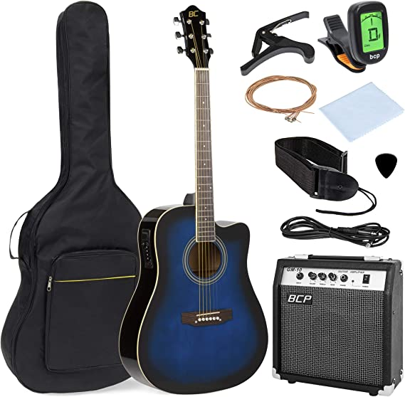 Best Choice Products 41in Full Size Acoustic Electric Cutaway Guitar Set w/ 10-Watt Amp