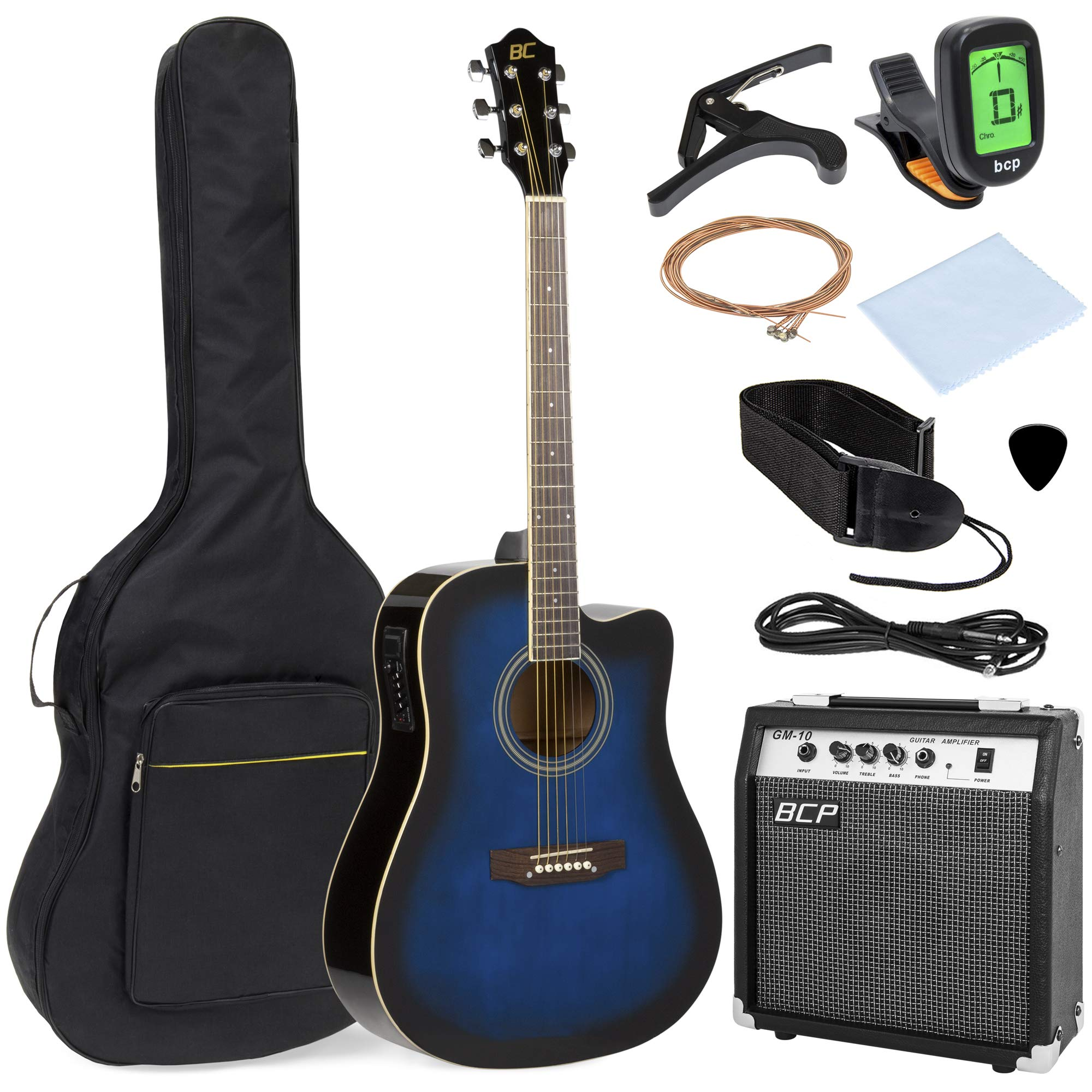 Best Choice Products 41in Full Size Acoustic Electric Cutaway Guitar Set with 10-Watt Amplifier, Capo, E-Tuner, Gig Bag, Strap, Picks (Blue) by Best Choice Products (Image #1)