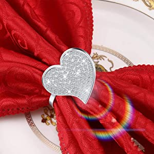 Set of 12 Heart Napkin Rings Valentine Napkin Ring Holder Buckle Love Napkin Ring Metal Rhinestones Napkin Ring Heart Shaped Napkin Ring Holder for Valentine's Day Wedding Table Decor (Silver)