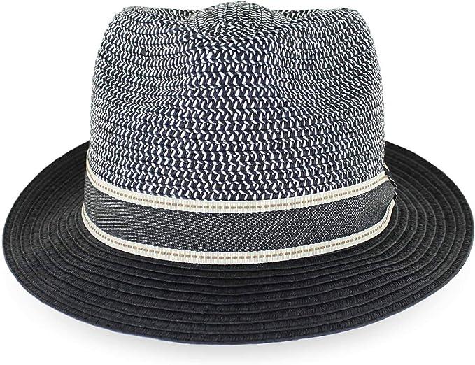 Tan Black Men//Women Summer Straw Trilby Fedora Hat in Blue Black XLarge