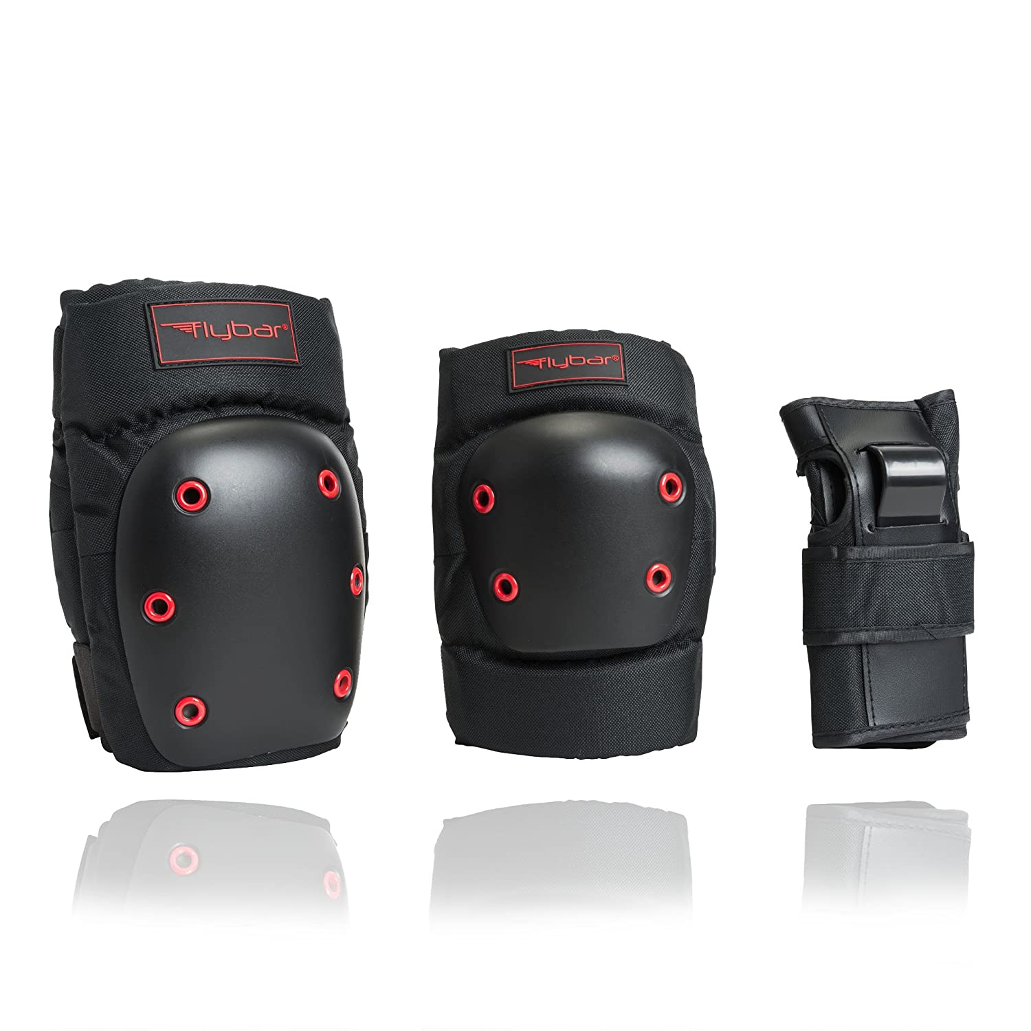 Flybar Knee and Elbow Pads, Wrist Guards Protective Safety Gear Set – Multi Sport Protection for Skateboarding, BMX, Pogoing, Inline Skating, Scooter – Kids, Teen Adult Sizes
