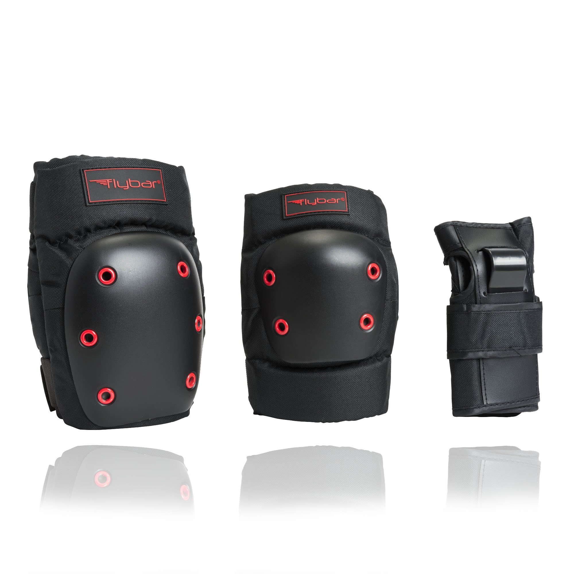 Flybar Knee Pads, Elbow Pads and Wrist Guards Protective Safety Gear Set - Multi Sport Protection For Skateboarding, BMX, Pogoing, Inline Skating, Scooter - Youth, Teen & Adult Sizes (X-Large)