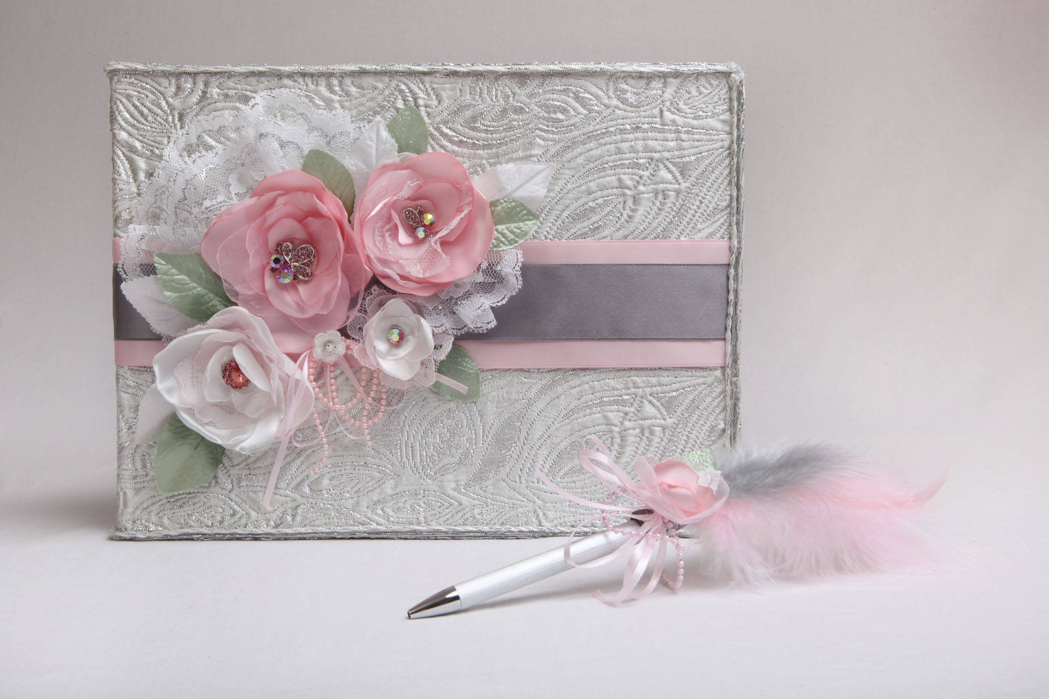 Shabby Chic wedding guestbook with pen set, Shiny silver fabric guestbook and pen with feather, Handmade pink flower rhinestone guestbook, Handmade wedding guestbook