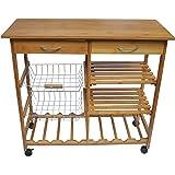 JA Marketing Bamboo Wood Kitchen Cart with Baskets, Shelves and 8-Slot Wine Bottle Holder