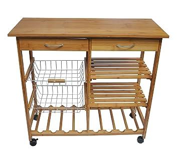 JA Marketing Bamboo Wood Kitchen Cart With Baskets, Shelves And 8 Slot Wine  Bottle
