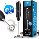 NEW 2019 FASTER, STRONGER & LONGER LASTING Milk Boss High Powered Milk Frother Handheld Foam Maker for Lattes - Whisk Drink Mixer for Bulletproof® Coffee Frother, Mini Blender and Milk Foamer Frother for Cappuccino, Frappe, Matcha, Hot Chocolate by - Zulay