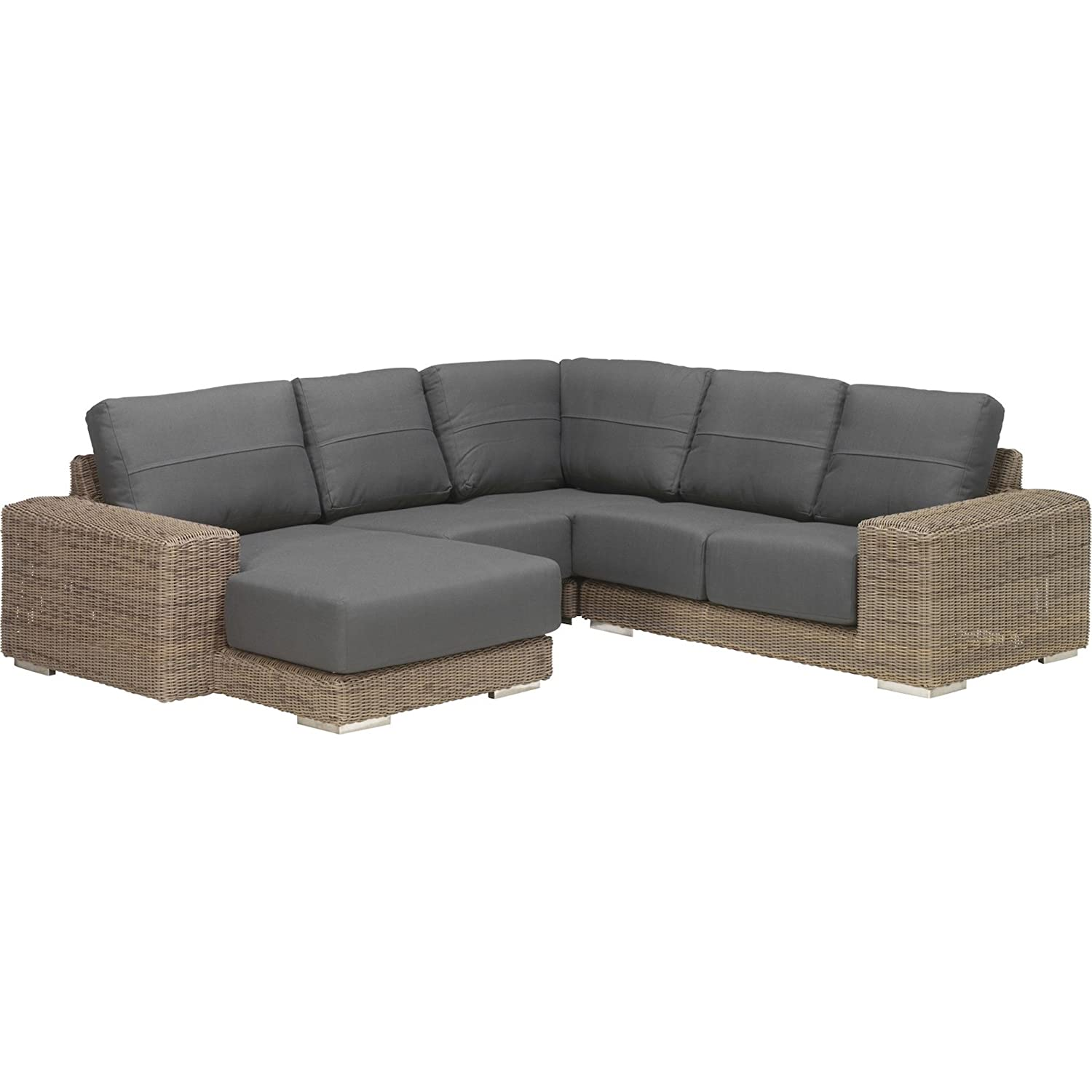 4Seasons Outdoor Kingston 4-teilige Eck-Loungegruppe Polyrattan Pure