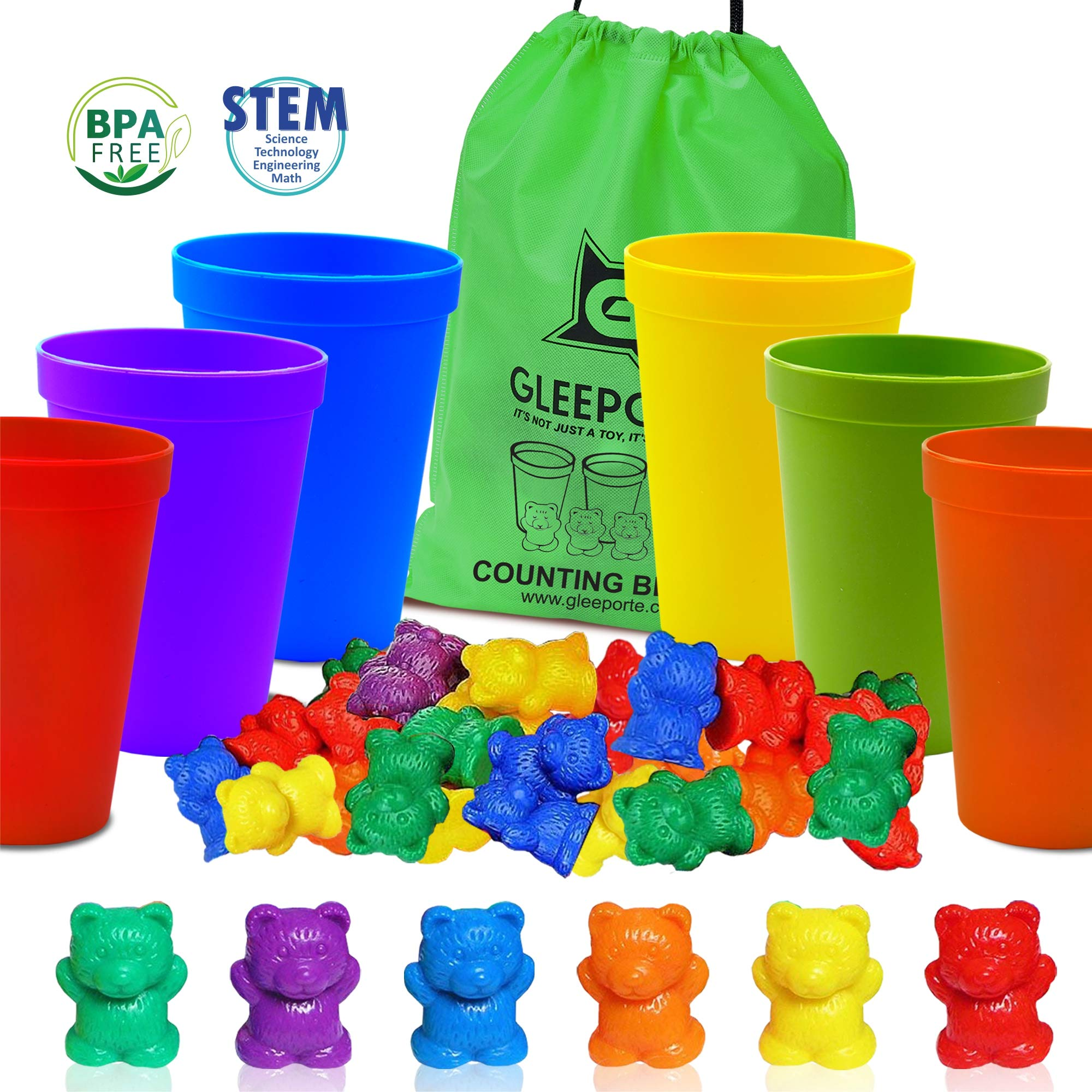 Gleeporte Colorful Counting Bears with Coordinated Sorting Cups | Sorting, Math Skills | (67 Pcs Set) | 60 Bears | 6 Cups | Storage Bag, Ages 4+ by Gleeporte