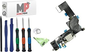 MobilePrime White Charging Port Replacement Kit Compatible for iPhone 5S Including Pro-Series Repair Tools - 821-1596-A 821-1667