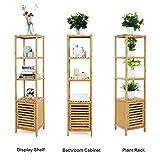 SONGMICS 4 Tiers Bamboo Bathroom Floor Cabinet