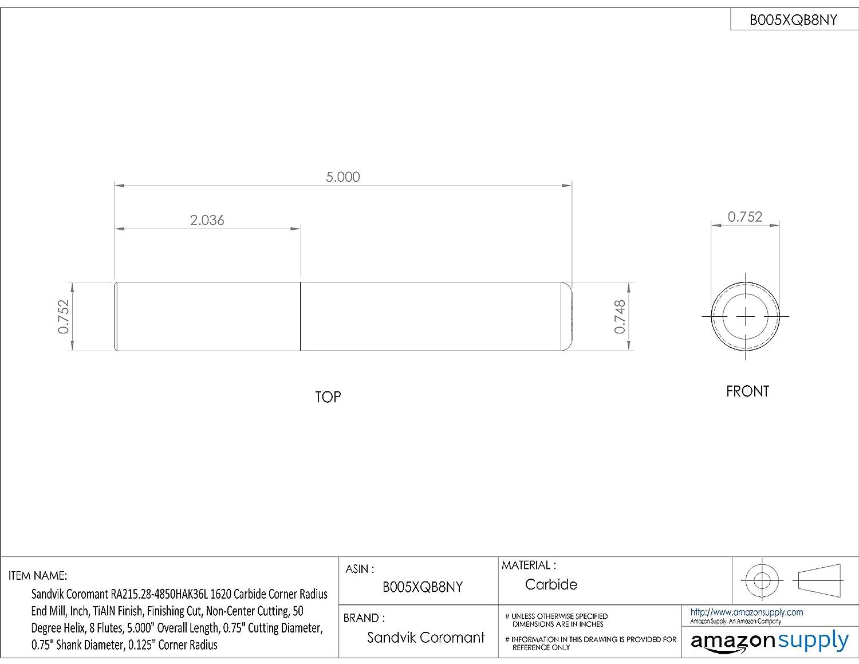 0.156 Cutting Diameter Non-Center Cutting 0.25 Shank Diameter Sandvik Coromant RA215.24 Carbide Corner Radius End Mill Finishing Cut 0.031 Corner Radius TiAlN Monolayer Finish 50 Deg Helix 3.000 Overall Length 4 Flutes