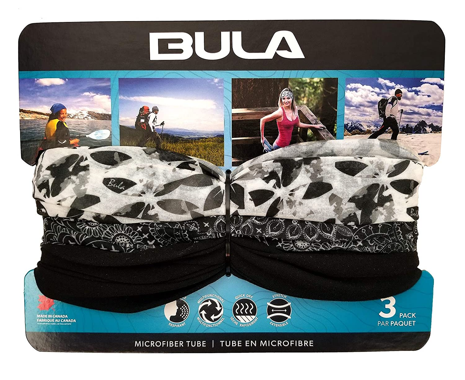 BULA - Unisex Soft Microfiber Multi-Functional Tube (3 Pack) (Black/White)