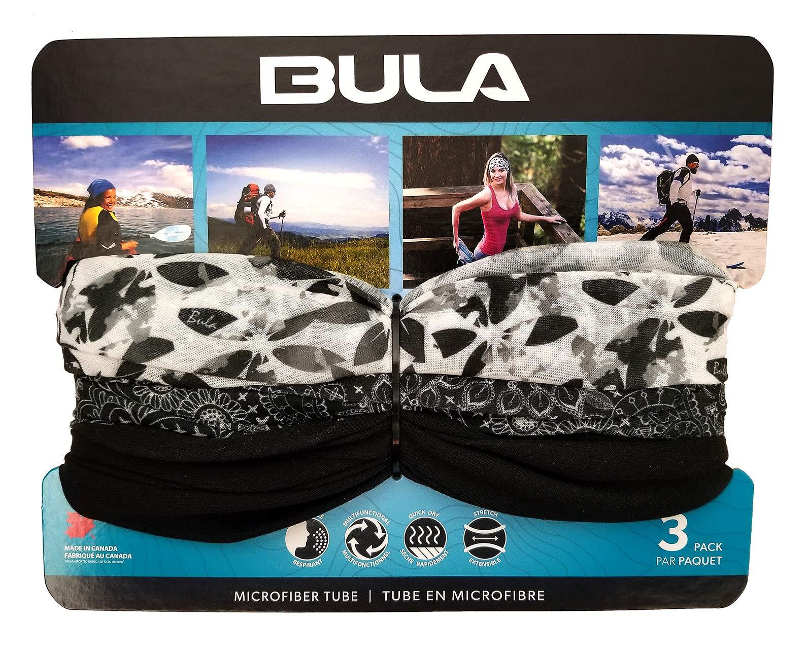 BULA - Unisex Soft Microfiber Multi-Functional Tube (3 Pack) (Black/White) by Bula