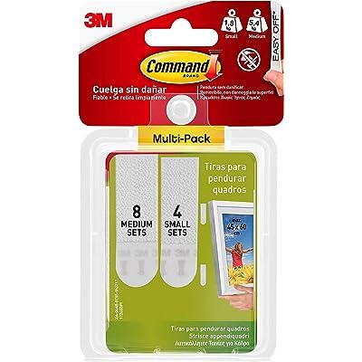 Command 17203 - Tiras Cuelga Cuadros, 4 juegos de tiras pequeñas, 8 juegos de tiras medianas, Color Blanco