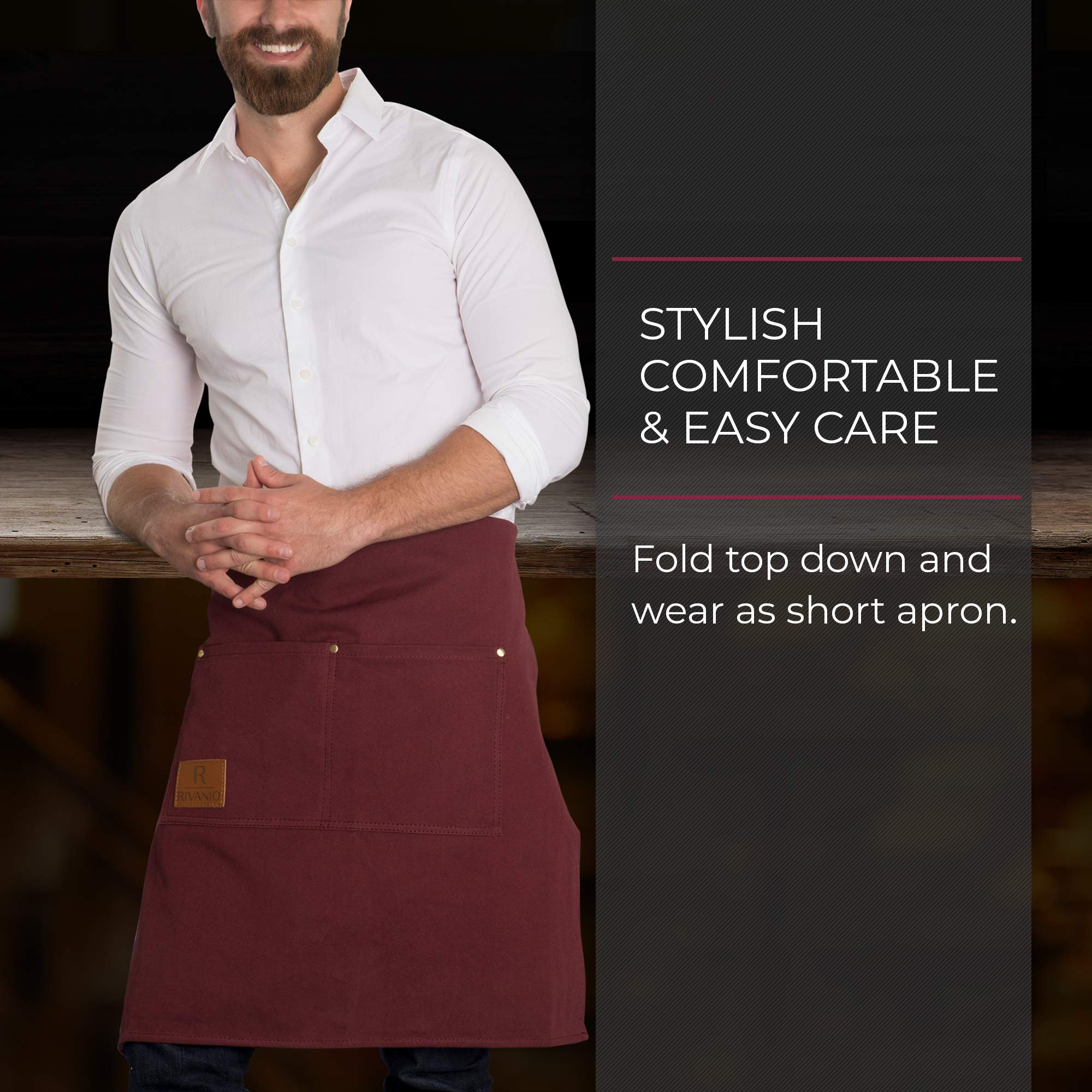Rivanio Canvas Cooking Apron, Long with Large Pockets - Kitchen, Shop, Grilling, Workshop Aprons for Men and Women - Adjustable Neck and Waist Straps - Stylish, Professional, Lightweight Bibs by Rivanio (Image #7)
