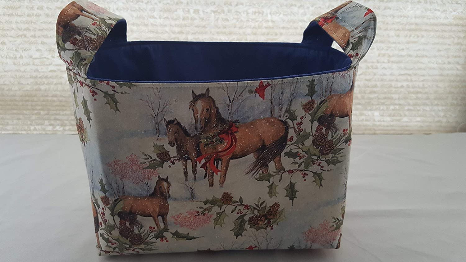 Christmas Fabric Organizer Basket Bin Caddy Storage Container - Horses with Wreaths