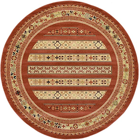 Land of Gabbeh Rugs Modern Contemporary Persian Design Rust Red 8 x 8 FT Round Area Rug – Perfect for Any Home D cor – Living Room Dinning Room Play Room Bedroom Kids Room