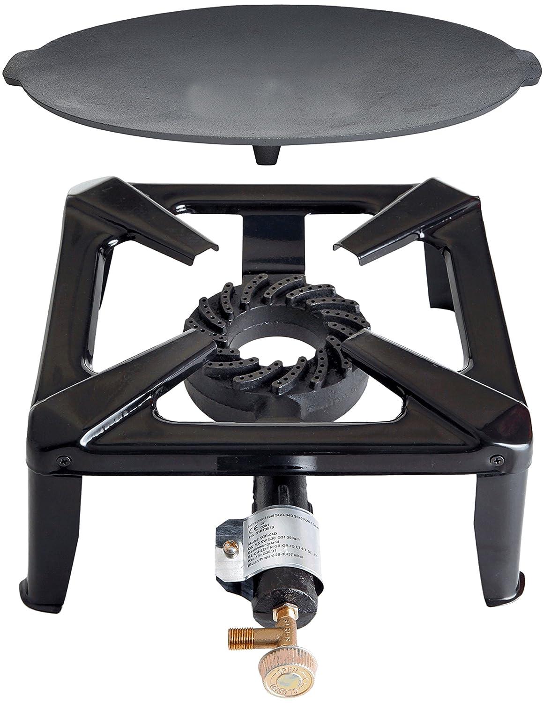 Hockerkocher mit 8.5 kW Leistung, Abmessung 30x30x15 cm und Gusseisengrillschale Ø 45 cm inkl. Gasschlauch & Regler