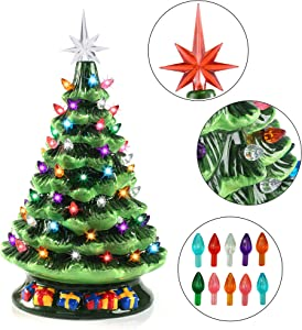 "Joiedomi 15"" Tabletop Prelit Ceramic Christmas Tree with 70 Multicolor Bulbs, Christmas Decorations"
