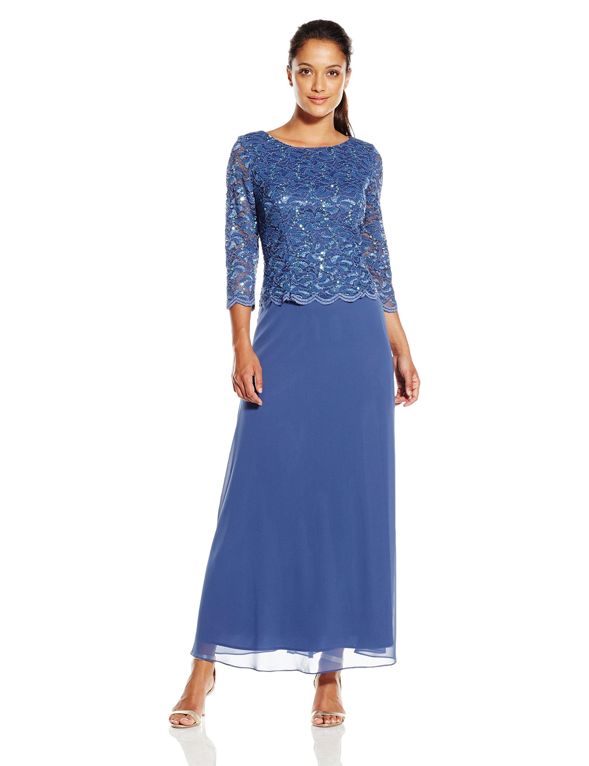 Alex Evenings Women's Petite Long Lace and Chiffon Dress, Wedgewood, 14/Petite