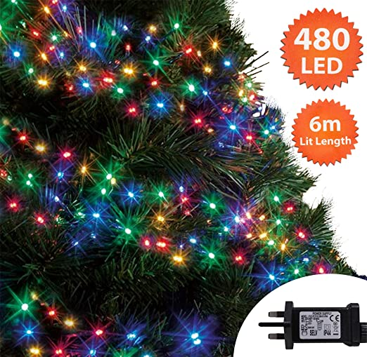 Multi Coloured Christmas Lights 480 LED 6m Cluster Tree Lights  Indoor/Outdoor Christmas Lights String - Multi Coloured Christmas Lights 480 LED 6m Cluster Tree Lights