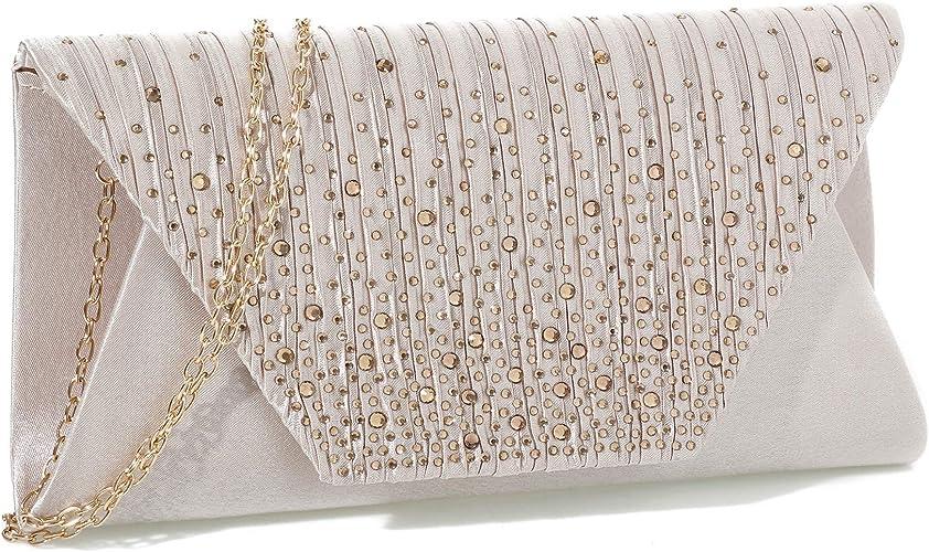 Women Glitter Evening Party Envelope Pleatted Clutch Shoulder Bag Bridal Handbag