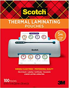 Scotch Thermal Laminating Pouches, 5 Mil Thick for Extra Protection, 100-Pack, 8.9 x 11.4 inches, Letter Size Sheets, Clear (TP5854-100)