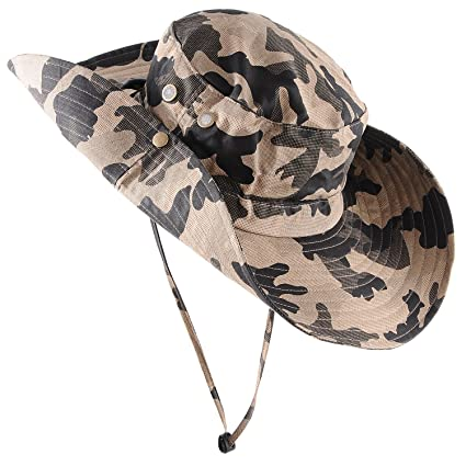 e03bbc9f0 Micoop Wide Brim Military Camouflage Hat Summer Fishing Hunting Camping  Hiking Cap Outdoor Sun Hat Boonie Hat