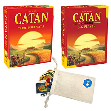 Catan 5th Edition Board Game with Catan 5-6 Player Extension Bundle | Includes Convenient Drawstring Storage Bag with Game Players Logo Printed