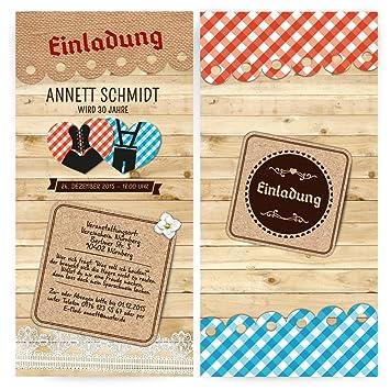 Einladungen (50 Stück) U2013 Dirndl Und Lederhose   Oktoberfest Frühschoppen Geburtstag  Einladungskarten