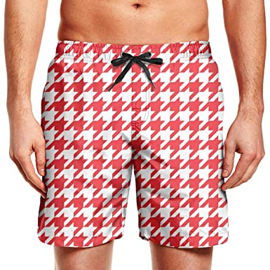 75464484b3 Man Art Mini Square red Checkerboard Beach Shorts Swim Trunks Swimming  Shorts