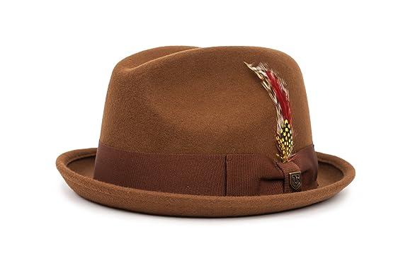 a067500294c1e Amazon.com  Brixton Men s Gain Short Brim Felt Fedora Hat  Clothing