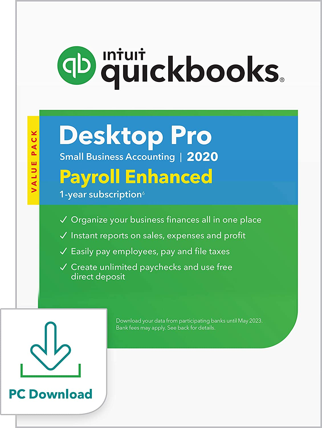 QuickBooks DesktopPro with Enhanced Payroll 2020Accounting Software for Small Business withShortcut Guide [PC Download]