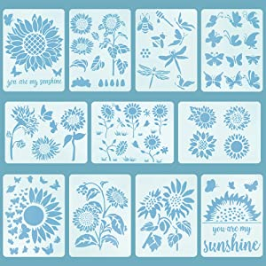 11PCS Sunflower Butterfly Stencils for Drawing, Reusable Flowers DIY Decorative Stencil Template for Painting on Wood Walls Furniture Crafts (8.3 x 11 Inch)