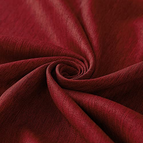 Deconovo Decorative Room Darkening Panels Textured Faux Linen Red Curtain