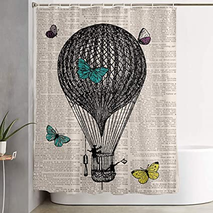 Lib BLI Shower Curtain Hot Air Balloon Digital Print Butterfly Dictionary  Printing Bath Curtain Waterproof Bath
