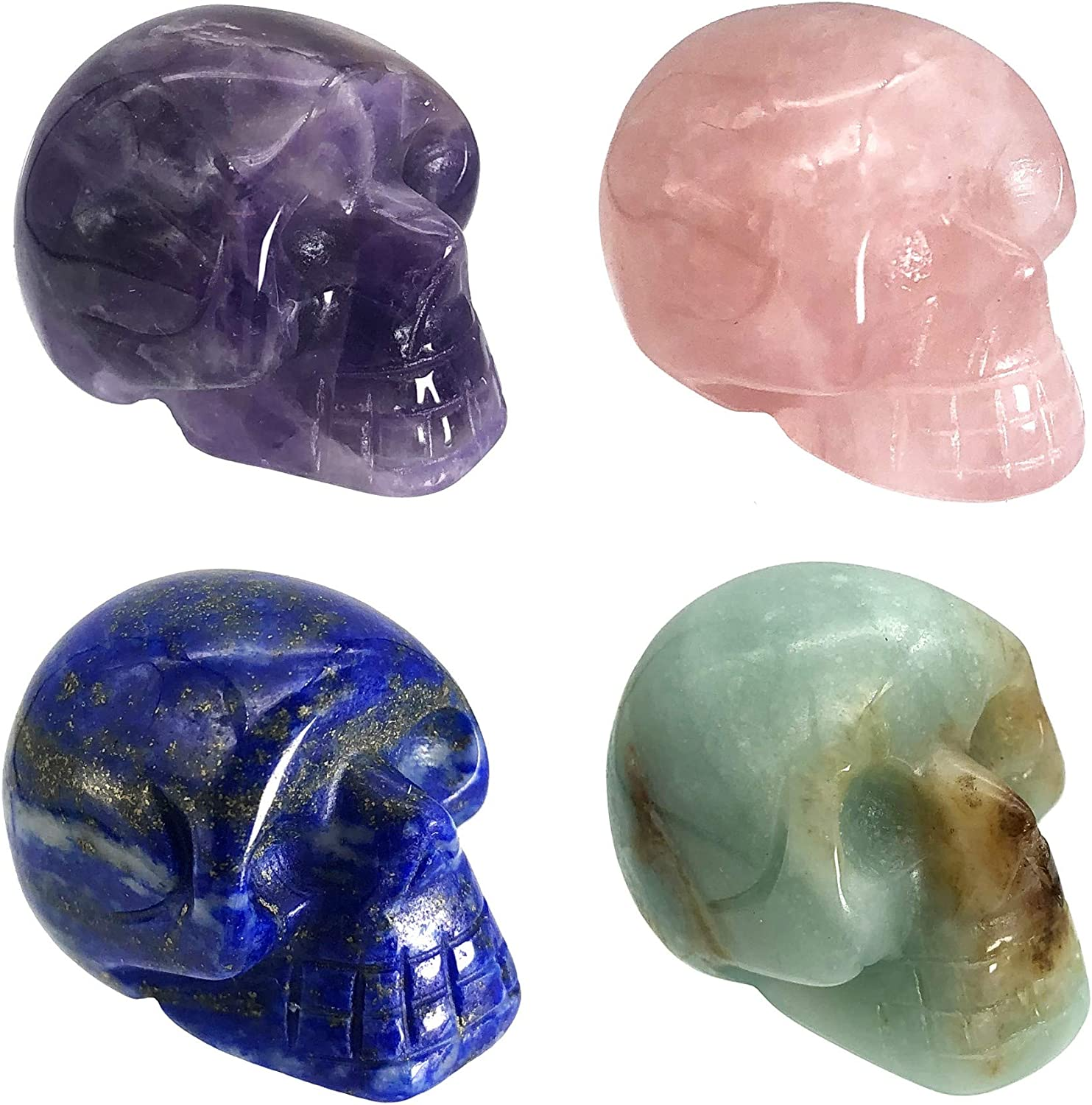 "Fekuar 4Pcs Natural Amethyst & Lapis Lazuli & Rose Quartz & Amazonite Hand Carved Stone Human Skull Statue Figurine Halloween Party Decoration, 1""(25mm)"