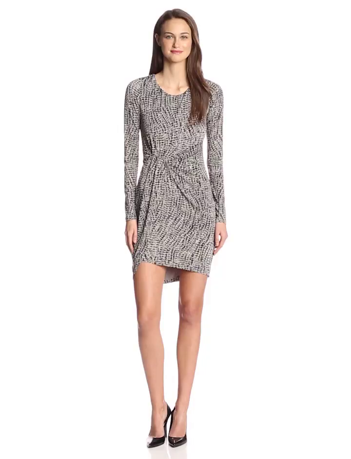 HALSTON HERITAGE Women's Printed Jersey Long Sleeve Dress, Grey Wave Texture Print, 10