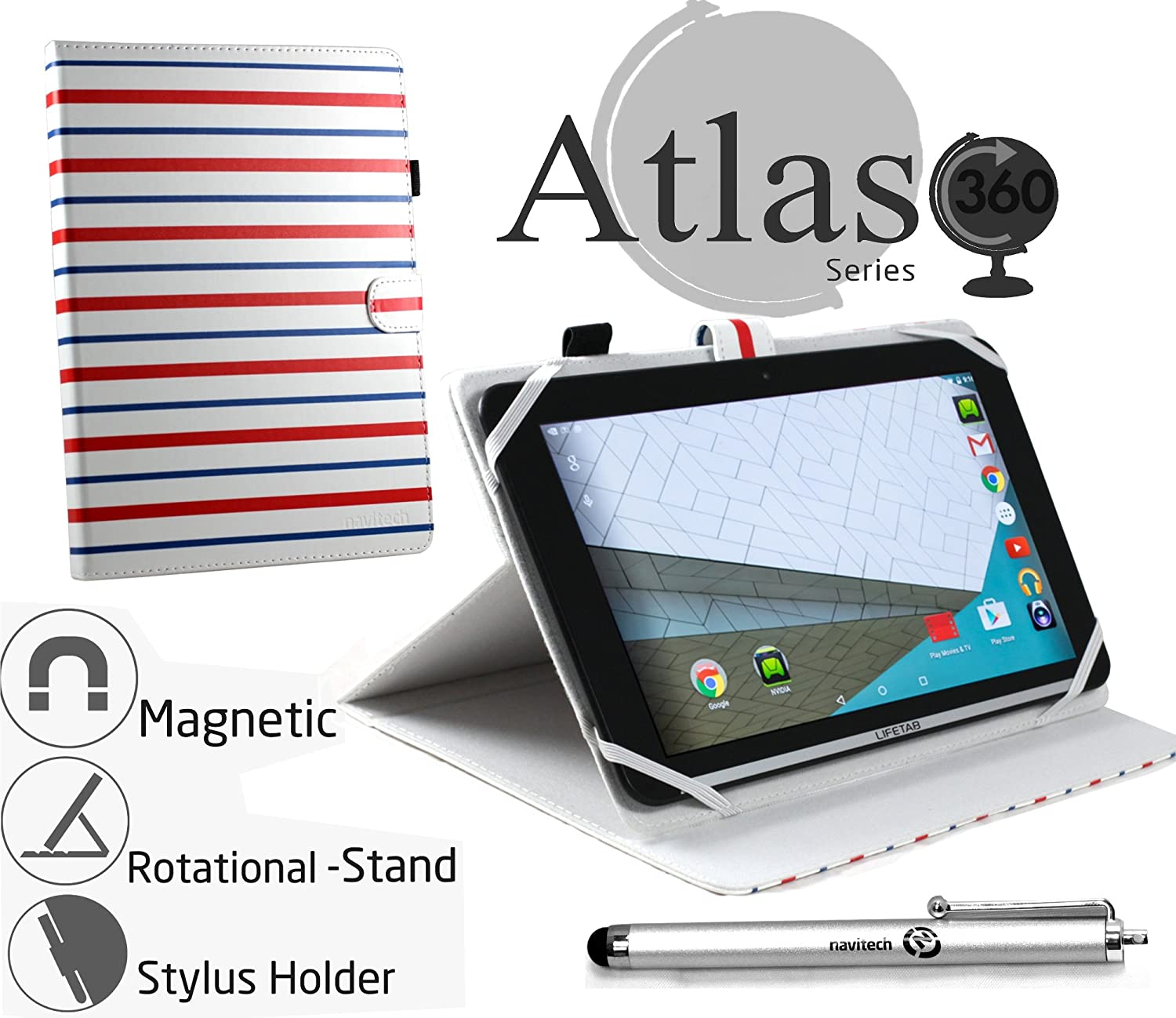 """Navitech 10"""" Red Blue White Stripes striped Case Cover With 360 Rotational Stand & Stylus Pen For The iPad Air 2 iPad air Apple iPad With Retina"""