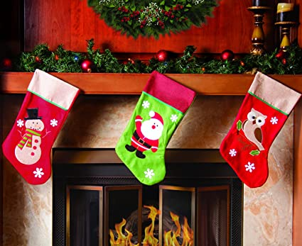 3 pcs set classic christmas stockings 18 cute santas toys stockings burlap accents - Decorating Christmas Stockings