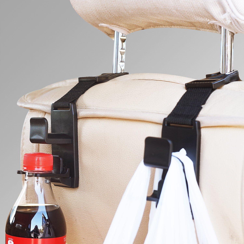 Must Have Car Accessories Get More Storage 4 Pack SlimK Car Seat Headrest Hanger Hooks Backseat Headrest Hanger Organizer and Bottle Holder