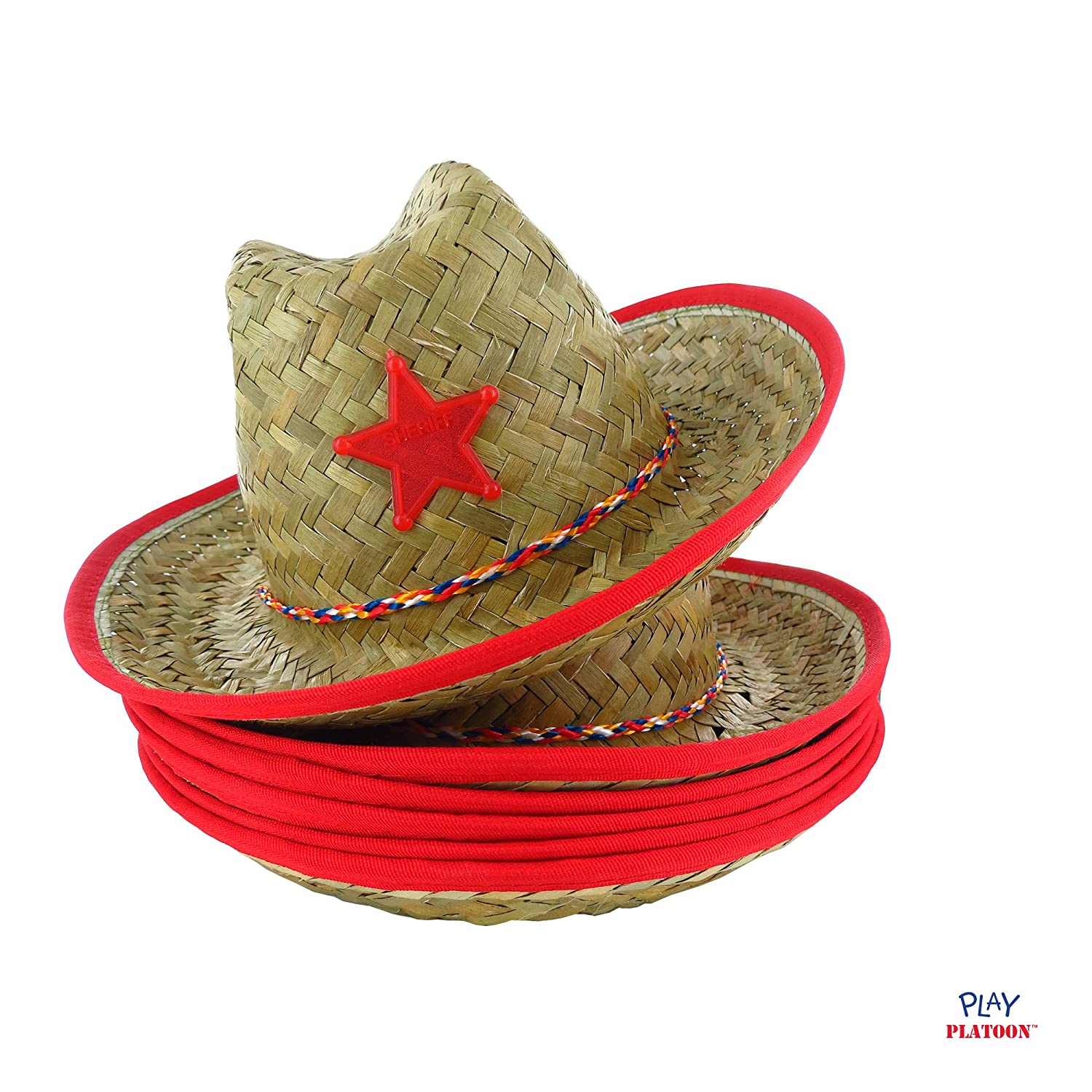57800acc2f374 Dozen Straw Cowboy Hats with Cowboy Bandanas (6 Red   6 Blue) for Kids  larger image