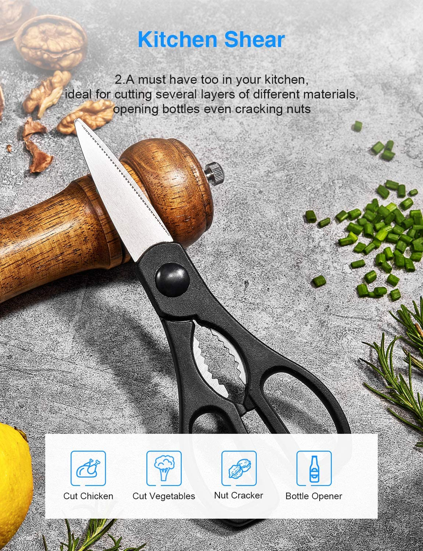 Ceppo Coltelli Professionali con Blocco in Acrilico Deik Set Coltelli Coltelli Cucina 16 Pezzi in Acciaio Inossidabile Coltelli da Cucina