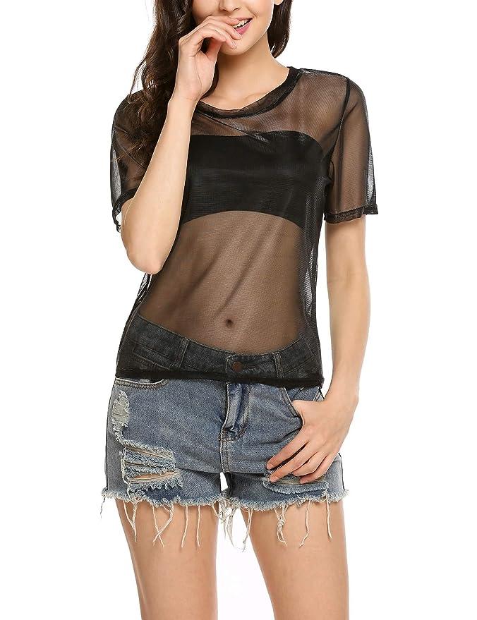 af6e6829e4 EASTHER Women's Sexy Summer See Through Sheer Mesh Short Sleeve T-Shirt