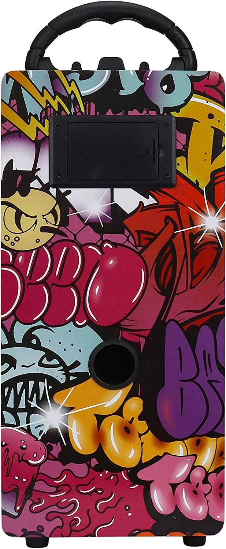 2 Microphon/é Lecteur USB//SD Enceinte Bluetooth Portable karaok/é 10W Mod/èle 025-12 Radio FM DYNASONIC 1 Microphon/è inclu