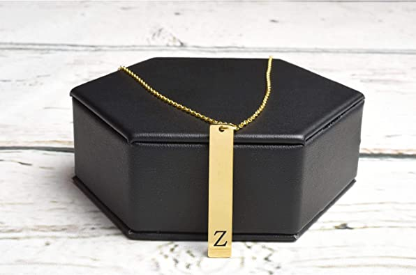 Pink Box Vertical Initial Bar Necklace Multiple Colors Available Z Gold