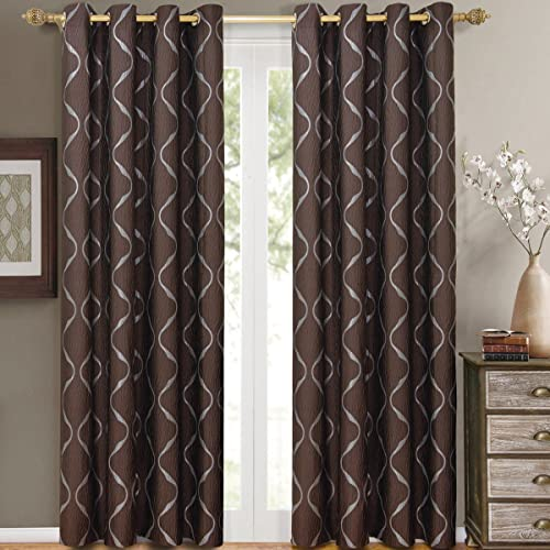 Pair of Two Top Grommet Curtain Panels. A Meek Elegant and Contemporary Design Laguna Jacquard Draperies